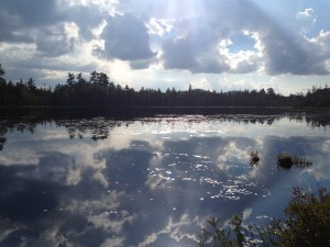 Helldiver Pond late in the day at Moose River Plains.  Photograph taken on August 29, 2013.